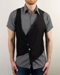 Mens Asymmetrical Futuristic Cyber Punk Vest in Black - The Vesterrific. $85.00, via Etsy.