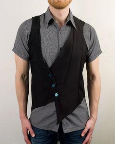 Mens Asymmetrical Futuristic Cyber Punk Vest in Black - The Vesterrific. $85.00, via Etsy.