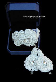 Wedding bridal long soutache earrings with by SutaszoweInspiracje