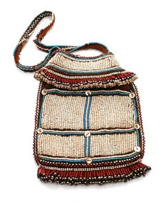 Africa | Beaded bag from the Zulu or Ndebele people of South Africa | 19th century | Cotton, glass beads and shell