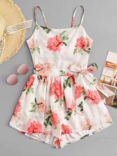 Cut Out Back Floral Cami RomperFor Women-romwe Source by deesstinee outfits elegant Really Cute Outfits, Cute Girl Outfits, Cute Casual Outfits, Pretty Outfits, Pretty Dresses, Stylish Outfits, Casual Dresses, Girls Fashion Clothes, Teen Fashion Outfits