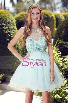 2015 Homecoming Dresses Scoop A Line Tulle Mini With Beads
