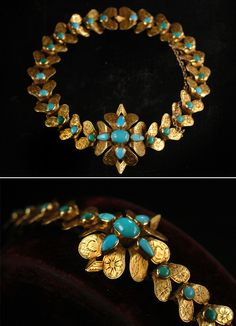 1830s Persian Turquoise Bracelet, High Karat Gold. This is the nicest Georgian bracelet I've ever seen.  It's beautifully constructed, and hand engraved on every bit of exposed metal with forget me not flowers...