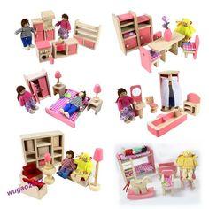Pink Wooden Dolls House Furniture Miniature 6 Room Set/4 Dolls Kid Christmas New