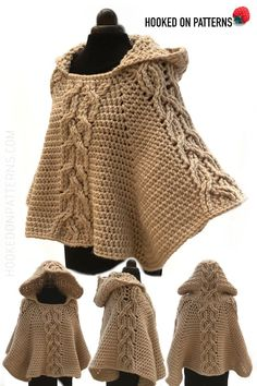 Poncho Crochet Pattern - Milena Twist Cable hooded Hooded Poncho crochet pattern - Milena: Crochet this chunky and warm poncho. With a decorative twist cable design & cosy hood it is perfect for chilly days. T-shirt Au Crochet, Crochet Waffle Stitch, Poncho Au Crochet, Pull Crochet, Mode Crochet, Crochet Poncho Patterns, Crochet Shirt, Chunky Crochet, Shawl Patterns