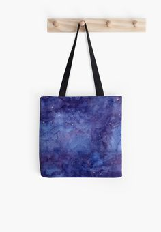 Watercolor Space Tote Bag by Anastasia Shemetova   #faerieshop #watercolor #space #galaxy #universe #stars #painting #cosmos #purple #night #present #gift #idea #starry #sky #art #redbubble #accessories #bag