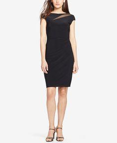 99.99$  Buy now - http://vicam.justgood.pw/vig/item.php?t=i6yk9kp6133 - Petite Mesh-Insert Jersey Dress 99.99$