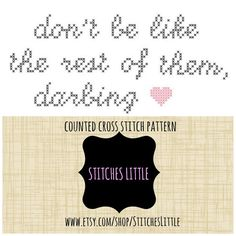 Modern Cross Stitch Pattern  Darling  PDF  by StitchesLittle, $2.00 #DIY #needlecraft #StitchesLittle