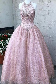 Halter Sparkly Prom Dresses Rhinestone Beaded Pink Quinceanera Dress A – SheerGirl Ivory Lace Wedding Dress, Wedding Dresses, Sparkly Prom Dresses, Dress Prom, Party Dress, Sweet 16 Dresses, 15 Dresses, Rhinestone Dress, Ball Gowns Prom
