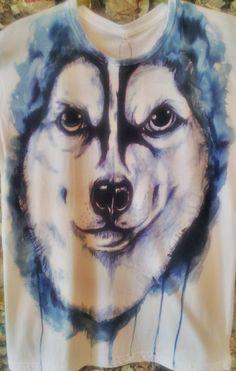 adorable husky on painting tees