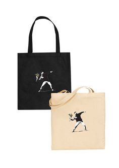 banksy flower thrower tote bag street art graffiti grafitti