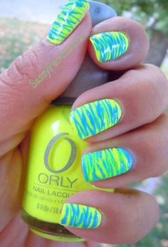 Cool blue and fluro yellow nails neon pretty awesome