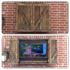 Outdoor TV Cabinet – great furniture accent for your patio // Custom, handmade, hardwood farmhouse TV storage cabinet with shelf – Mein Stil Outside Patio, Back Patio, Backyard Patio, Backyard Kitchen, Outdoor Spaces, Outdoor Living, Outdoor Decor, Outdoor Tvs, Outdoor Patios
