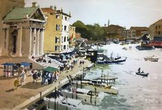 John Yardley (b. 1933, UK) Scalzi, Venice. watercolour. 14 x 20 in.