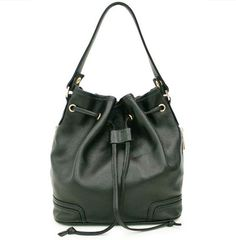 Black Leather Drawstring Bags for womens