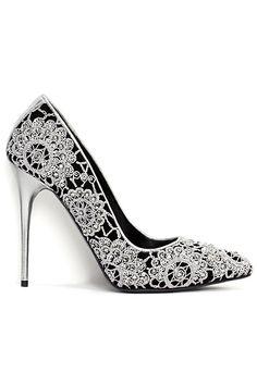 Alexander McQueen Crystal-Embellished Embroidered Pumps Pre-Spring 2014 #Shoes #Heels