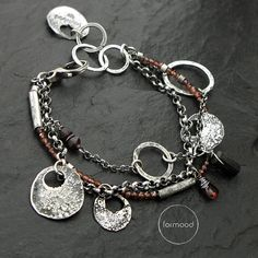 Bracelet raw sterling silver garnet and black by studioformood