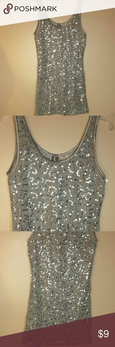 BKE  sequin over lace tank see through LIKE NEW!! Adorable sequin over lace tank top, see through excellent condition BKE Tops Tank Tops