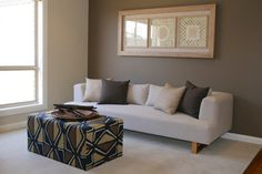 Custom made ottoman. Display Homes, Soft Furnishings, Color Themes, Ottoman, Interior Decorating, Couch, Chair, Projects, Furniture
