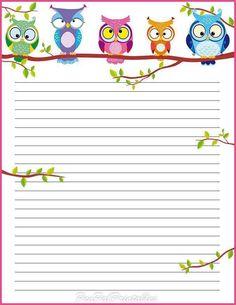 Papier à lettre chouettes
