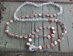 Knotted gemstone necklace Silver Seas sky blue by slashKnots