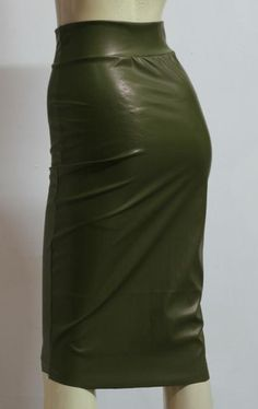 a00f558d25f Olive Green Leather Skirt Hobble Midi Skirt Plus Size High Waist Pencil  Skirt