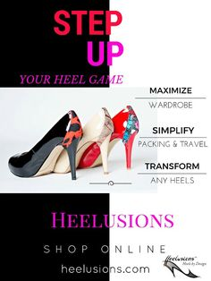 Seriously step up your style by adding BIG design details to shoes you already own and SAVE a small fortune while your at it  $ ~ $~ $ ~ Heelusions are the ONLY fashion accessory that give you fabulous design options to personalize your style ~ ◇ ~ ☆ Travel like a pro and lighten your luggage  ☆ Reinvent heels you're bored with  ☆ Turn basic and plain styles into designer creations  ~~~~~~~~~~~~ SHOP www.heelusions.com
