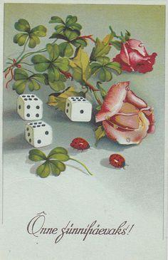 Postkaart; õnnitlus; roosid ja täringud; enne 1940, Estonia