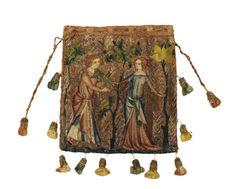 Minnetasche mit Minneszene unbekannt1340FrankreichStickerei15,8 x 14,5 cm Die kleine Tasche wird als Minne- oder Brautgeschenk gedeutet.