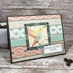 2019 New Catalog Card Swap – Mosaic Healing Thoughts – Coffee Mark Creations Mosaic Madness, New Catalogue, Decorative Trim, Bird Cards, Get Well Cards, Coordinating Colors, Printable Cards, Stamping Up, Mosaic Art