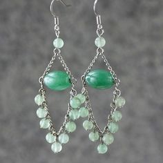 Chandelier Earrings jade green for women dangle by AniDesignsllc, $9.95