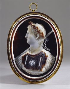 Emperor Claudius - Sardonyx, Multi-Layered White And Brown; Glass Backing With Colouring, Closed Copper-Gilt Mount  (Cameo) c.43-45AD (Mount) c. 17th Century (?)