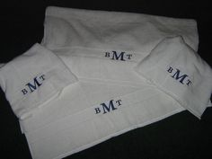 Plain simple monogramed towels that my husband wanted in his bathroom. Nothing fancy for him.