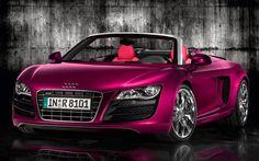 Pink Audi R8 Spyder ♥ App for your Audi http://Carwarninglight.com