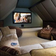 A Personal Cyber Attic An attic turned into a home theater room. i want to build my house with attic space like this for this purpose!An attic turned into a home theater room. i want to build my house with attic space like this for this purpose! Attic Rooms, Attic Spaces, Attic Bathroom, Rec Rooms, Attic Apartment, Attic Playroom, Small Rooms, Attic Media Room, Apartment Therapy