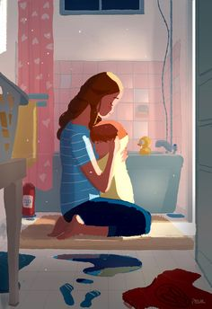 Bath time conversations, by Pascal Campion -Mommy.Can I marry you when I'm older? - No sweetie, you can't. I'm already married to daddy. Daddy is a lucky guy. Family Illustration, Digital Illustration, Pascal Campion, Timberwolf, Matte Painting, Marry You, Mothers Love, Mother And Child, Bath Time
