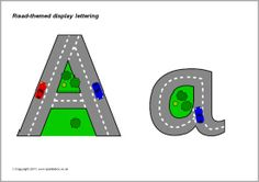 Road-themed display lettering (SB4811) - SparkleBox
