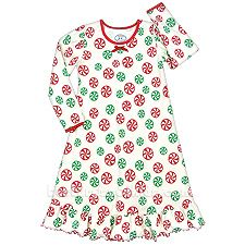 Get all decked out for the holidays with this cute night gown from Sara's Prints. Kids Christmas Outfits, Christmas Clothes, Holiday Pajamas, Weaving Process, Puffed Sleeves, Kids Pajamas, Collar And Cuff, Ribbon Bows, Night Gown