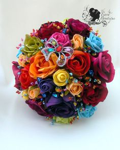 Crystal & Artificial flower bridal bouquet by TiaraBoutique, $375.00