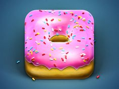Donut App Icon by Konstantin Datz. 25 Clever and Creative Mobile App Icons. #icons #mobile #design #inspiration #app