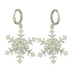 CZ Snowflake Brass Earrings Minimalist by LaurenSpencerJewelry