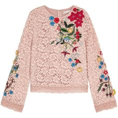 Alice + Olivia Pasha Embroidered Lace Top - Size 10 ($450) ❤ liked on Polyvore featuring tops, embroidery top, flower embroidered top, lace beaded top, floral embroidered top and pink lace top