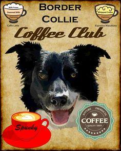 Border Collie Dog Coffee Club Art Poster Print by SwiftArtStudio, $23.00