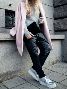 Powder pink, leather and sneakers. #details