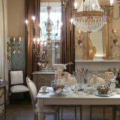 Julie Neill Designs on Magazine Street ~ her work embodies the best in New Orleans style and beauty Outdoor Table Settings, Outdoor Tables, Interior Styling, Interior Design, French Chandelier, Beautiful Dining Rooms, Chandeliers, Chandelier Lamps, Family Room