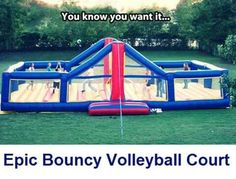 Funny pictures about Epic Bouncy Volleyball Court. Oh, and cool pics about Epic Bouncy Volleyball Court. Also, Epic Bouncy Volleyball Court photos. Volleyball Memes, Volleyball Party, Volleyball Ideas, Volleyball Workouts, Volleyball Gifts, Volleyball Pictures, Volleyball Tattoos, Volleyball Inspiration, Coaching Volleyball