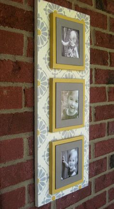 Gray  Yellow Triple Magnetic Photo Frame Wallscape: Faux Painted Wooden Frame - Gray, Yellow, Ivory. $68.00, via Etsy.