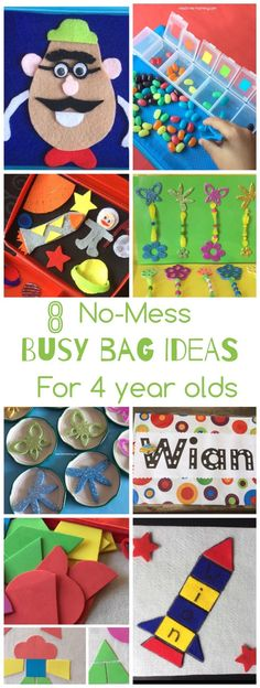 No mess busy bags for kids!  Great  ideas here!