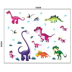 Wall Sticker Decal Dinosaurs T-rex for Kids and baby Bedroom Daycare and Nurcery Home Decor DIY Remo Wall Stickers Cartoon, Wall Stickers Animals, Cartoon Wall, Removable Wall Stickers, Wall Stickers Murals, Wall Stickers Home, Vinyl Wall Art, Baby Room Decals, Dinosaur Wall Decals
