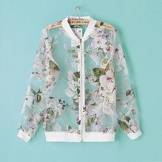 117f1fe4 Aliexpress.com : Buy 2014summer women floral print organza see througth bomber  jacket european style